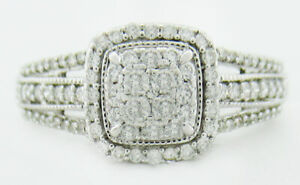 GENUINE 1.43 Cts DIAMONDS RING 10k WHITE  GOLD ** New With Tag ** FREE SHIPPING