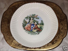 SABIN CREST-O-GOLD LUGGED HANDLED SALAD PLATE COLONIAL COUPLE PEOPLE MAN WOMAN
