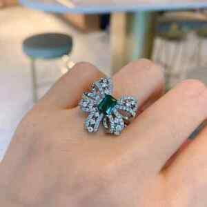 2.50Ct Emerald Cut Green Emerald Bowknot Style Engagement Ring 14K White Gold FN