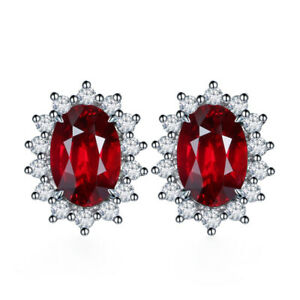 Classic Large Oval Crystal Stud Earring Girls CZ Jewelry Wedding Brides 2 Colors
