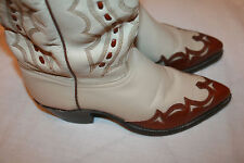 J. CHISHOLM COWBOY BOOT 9 D Style White leather Brown Overlay Fancy J6029 EUC