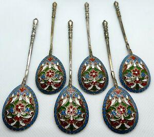 Set Of 6 Antique Russian 84 Silver Enamel Spoons 85,2 Grams