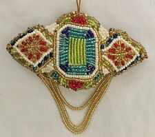 """Multicolor Beaded 4X4"""" Stunning Padded 2 Sided Dangle Ornament Figurine"""