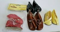 Vintage Doll Shoes Lot Tallinas Red Size 4,Brown,Black Pale Yellow