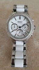 DKNY Damen Keramik Armband silber/weiß Uhr NY8181