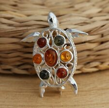 925 Sterling Silver Multicolour Baltic Amber Turtle Brooch Pin Jewellery Boxed