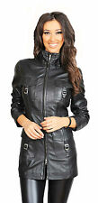 Womens 3/4 Fitted Real Leather Coat Ladies Trendy Zip up Jacket Carol 12