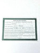 Rolex One Year Service Guarantee Certificate Paper,Explorer II, 2002