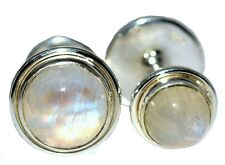 Sterling 925 SILVER Mystic Moonstone Mens Cufflinks, Double Sided 4 Stone Gents