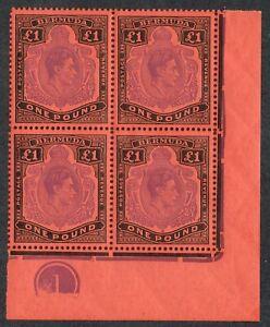 Bermuda 1938 SG121d £1 Violet & Black P13 Plate Block BPA Cert Superb U/M/M