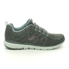 Ladies Skechers Flex Appeal Sporty Style Knit Fabric Upper Olive Trainers 31077