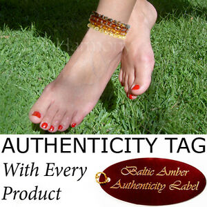 Authentic RAW BALTIC AMBER ADULT ANKLETS natural AGbA® Certified