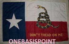 3'x5' TEXAS GADSDEN FLAG DON'T TREAD ON ME TEA PARTY LONE STAR MESS HUGE NEW 3X5