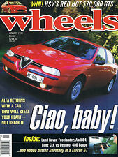 WHEELS JAN 98 FALCON GT CLK 156 250 GTO LS400 Alfa Romeo 156 Freelander