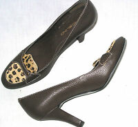 Bandolino Gabriela womens 6.5 leather pumps heels animal print calf hair brown