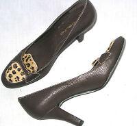 Bandolino Gabriela womens 6.5 leather pumps heels animal print calf hair brown