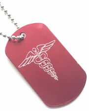 Personalised SOS Medical Alert logo ID Red Army Dog Tag + Steel Chain (Z995)