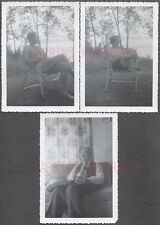 Lot of 3 Unusual Vintage Photos Men & Pretty Girl Time Exposure Red Banks 58891