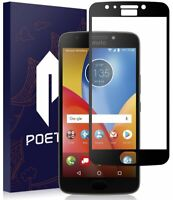 For Moto E4 Plus Screen Protector Poetic Ultra Thin Tempered Glass (Black)