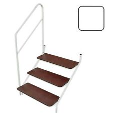 STATIC CARAVAN BOLT ON 3 TREAD STEP AND ADJUSTABLE L OR R HANDRAIL WHITE
