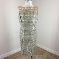 Badgley Mischka Collection 14 16 Wool Tweed Dress Metallic Gold Taupe EUC WOW