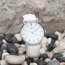 Fashion BRAND Geneva Women Dress Watches Leather Band Analog Quartz Wrist Watch White