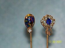 Antique Lot Of Beautiful Hat Pins Stick Pins Deep Blue Stone Multi Color Stone