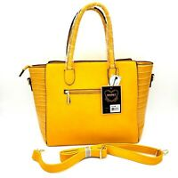 Diophy Handbag with Detachable Shoulder Strap Croc Embossed Mustard Yellow