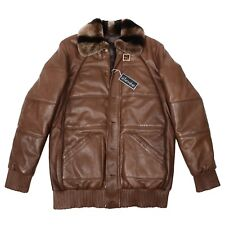 Italian Made Brown Leather Bomber Jacket With Natural Fur Collar Retail $3,800