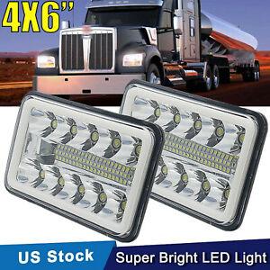 "2Pcs 4X6"" DRL LED Headlights Light Bulb Crystal Clear Sealed Hi/Lo Beam Headlamp"