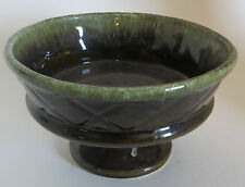 "Hull USA Pottery Green Drip Ware Glaze Compote F25 4.5"" Tall"