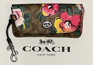 NEW Coach Sunglass Case Signature Canvas Vintage Rose Print C5708