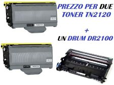CARTUCCIA PER BROTHER DCP7045 MFC-7320 MCF-7340 X 2 TONER TN2120+ UN DRUM DR2100