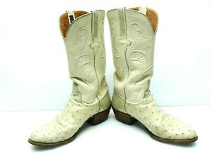 Pre Owned Lucchese Classic Cream Full Quill Ostrich Boots with Inlays 10D Boot