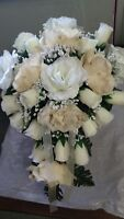 20 PC Champagne Ivory & Burlap cascade wedding bouquet package RUSH ORDER AVAILA