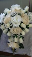 20 PC Champagne and Ivory & Burlap  cascade wedding bouquet package