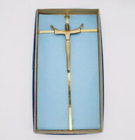 Brass Metal Crucifix Jesus Christ Wall Hanging Ascension to Heaven Arms Raised