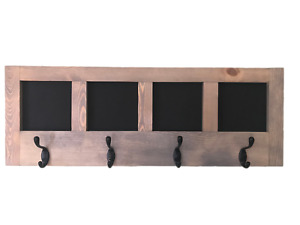 Chalkboard Message Center with Coat and Key Hooks, Wall Hanging Message Board