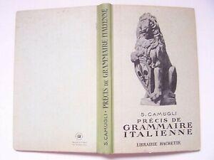 Livre scolaire manuel ancien Italien Camugli Précis grammaire italienne vintage