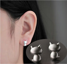 1 Paar Süße Katze Ohrringe Silber Ohrstecker Ear Studs Schmuck Dekoration