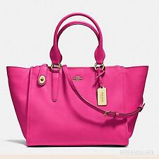 NWT COACH 33995 CROSBY CARRYALL IN CROSSGRAIN LEATHER Pink Ruby Satchel $398
