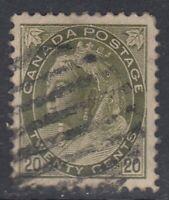 "Canada Scott #84  20 cent  olive green  ""QV Numeral""  F"
