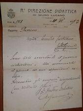 Permesso Regia direzione didattica di MURO LUCANO a CASTELGRANDE 1927 scuola del