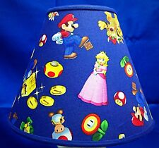 Nintendo Mario Blue Fabric Lampshade Handmade Lamp Shade