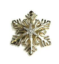 Yellow Gold Brooch 5.0 grams Christmas Frozen Snowflake Diamonds 14k