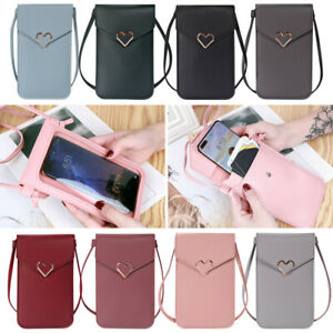 Touchable Crossbody Bags Cell Phone Holder Case Wallet Purse with Clear Window