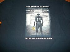 Notre Dame Football 2008 The Shirt WAKE UP THE ECHOES Blue Adidas T-Shirt Sm New