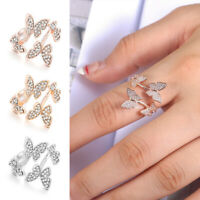 Fashion 925 Silver,Rose Gold,Gold Women Butterfly White Sapphire Ring Adjustable