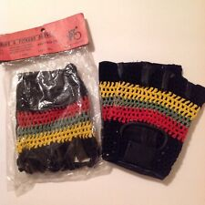Racing Cycling Motorcycle Bike Half Finger Gloves XL Leather Jamaican Colors