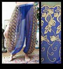Harem Pants Belly Dance Blue w/ Gold Brocade Slit 4